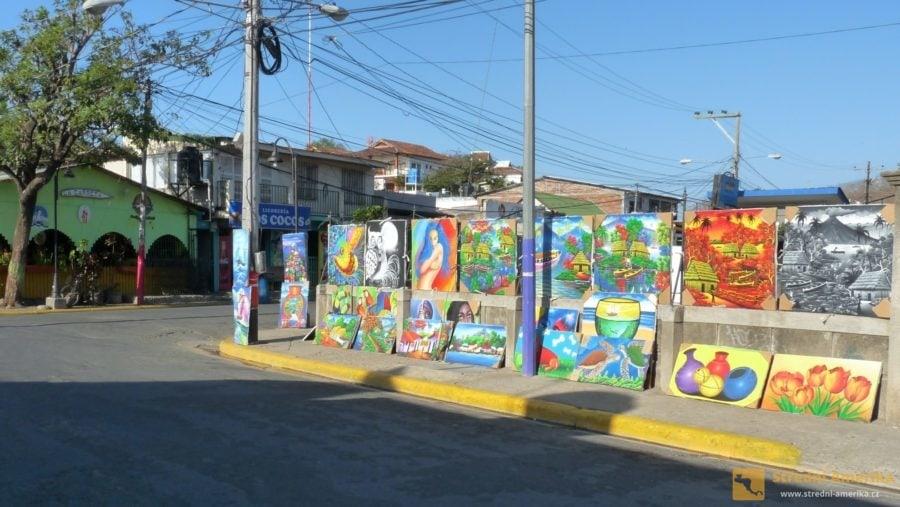 Nikaragua, San Juan del Sur. Pouliční galerie.