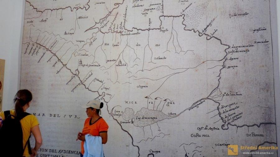 Stará Leon, mapa z doby kolonizace Nikaraguy