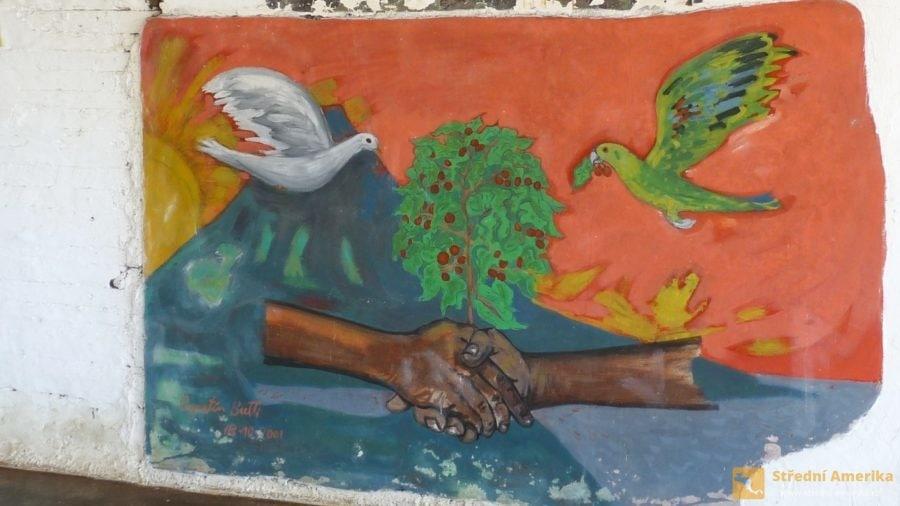 Ometepe: Nástěnná malba v kavárně kávové plantáže