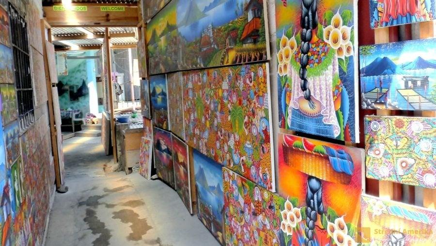 Guatemalaa, San pedro, otevřená galerie jedné z uměleckých škol
